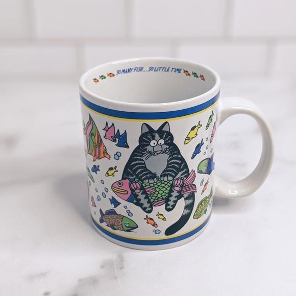 Vintage cat so many fishes coffee tea mug